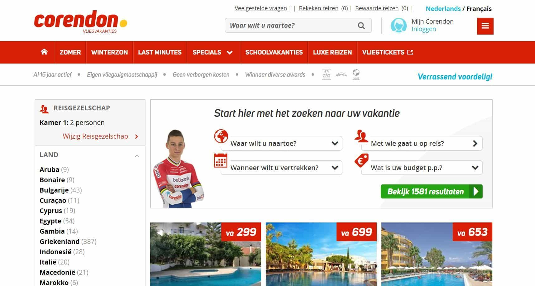 Corendon website